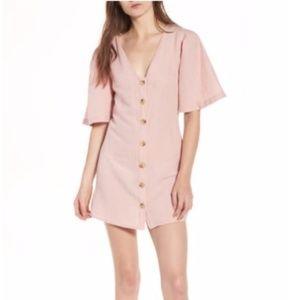 NEW Topshop Pink Linen Short Sleeve Button Down
